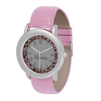Leopard animal print pink name wrist watch