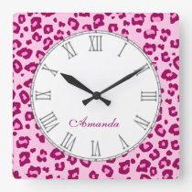 Leopard animal print pinky name wall clock