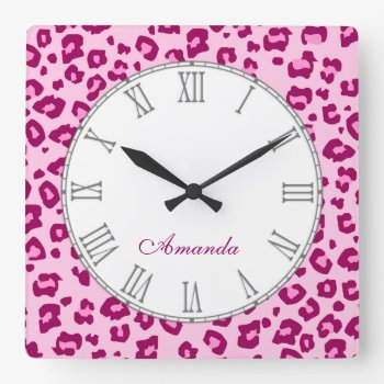 Leopard Animal Print Pinky Name Wall Clock by Mylittleeden at Zazzle