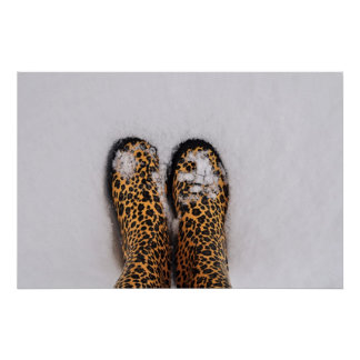 Leopard animal print rain boots in the snow