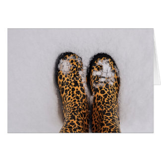 Leopard animal print rain boots in the snow card