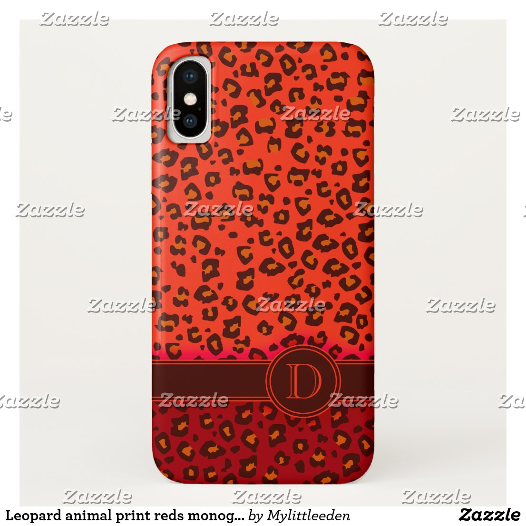 Leopard animal print reds monogram iphone case