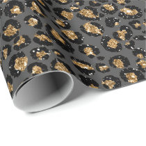 Leopard Animal White Gold Black Gray African Lux Wrapping Paper