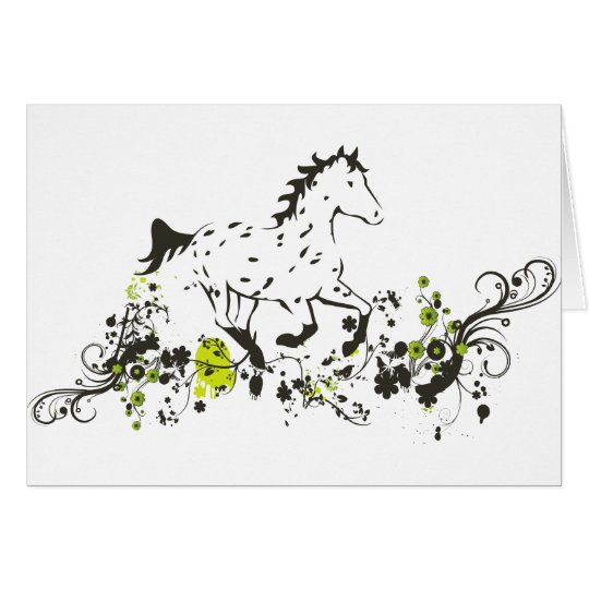 Leopard Appaloosa with Floral Print Card