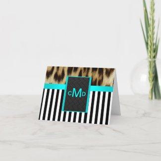 Leopard Aqua Black White Stripe Monogram ThankYou card