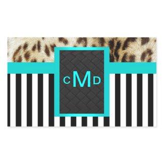 Leopard Aqua Black & White Stripes Monogram Seal sticker