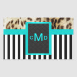 Leopard Aqua Black & White Stripes Monogram Seal Rectangular Sticker