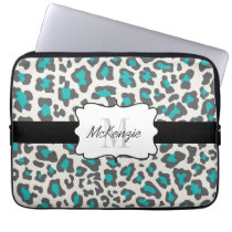 Leopard Aqua Gray White Neoprene Laptop Sleeve