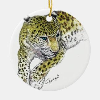 Leopard Art Print Ceramic Ornament