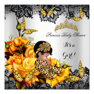 Leopard Baby Shower Girl Butterfly Yellow Ethnic Card