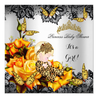Leopard Baby Shower Girl Butterfly Yellow Gray Card