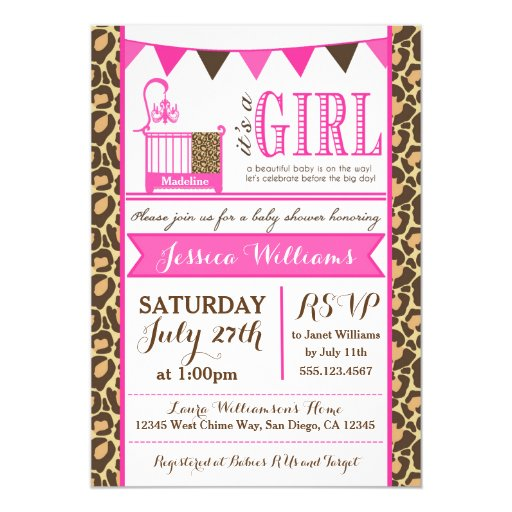 Leopard Baby Shower Invitation For Baby Girls