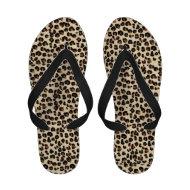 Leopard Beige Black Animal Print Flip-Flops
