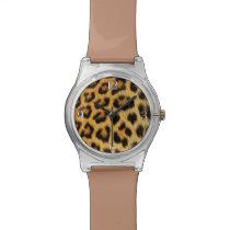 Leopard Big Cat Africa Wildlife Faux Fur Wrist Watch