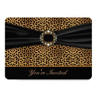 """Leopard Black All Occasion Invitation Template 5"""" X 7"""" Invitation Card"""