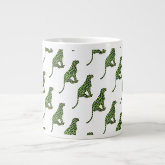 Leopard Black and Green Silhouette Giant Coffee Mug