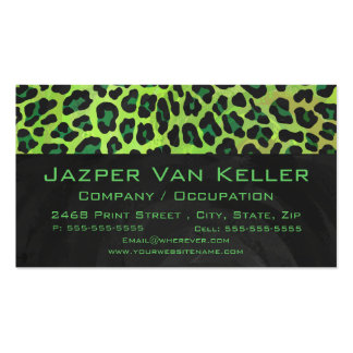 Leopard Black and Green with Monogram Business Card