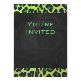 Leopard Black and Green with Monogram Card