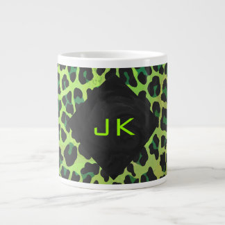 Leopard Black and Green with Monogram Large Coffee Mug