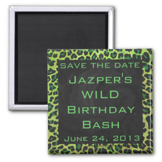 Leopard Black and Green with Monogram Magnet