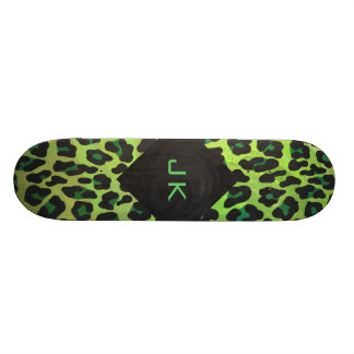 Leopard Black and Green with Monogram Skateboard
