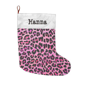 Leopard Black And Hot Pink Large Christmas Stocking