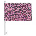 Leopard Black and Hot Pink Print Car Flag