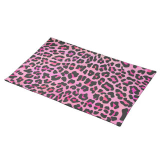 Leopard Black and Hot Pink Print Cloth Placemat