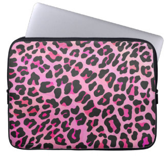 Leopard Black and Hot Pink Print Computer Sleeve