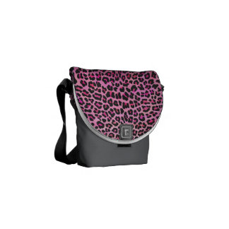 Leopard Black and Hot Pink Print Courier Bag