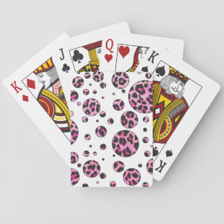 Leopard Black and Hot Pink Print Poker Cards