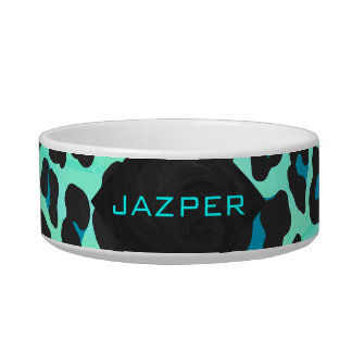 Leopard Black and Teal Print Bowl