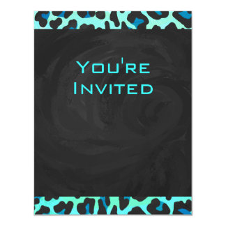 Leopard Black and Teal Print Card