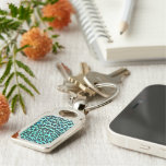 Leopard Black and Teal Print Keychain