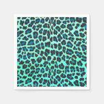 Leopard Black and Teal Print Paper Napkins