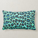 Leopard Black and Teal Print Pillow
