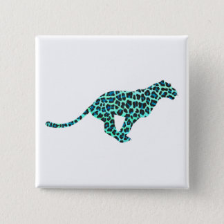 Leopard Black and Teal Print Pinback Button