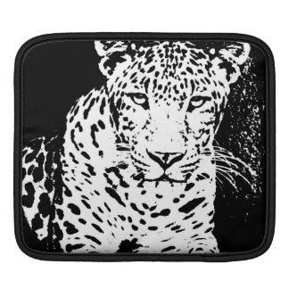 Leopard Black And White Portrait iPad sleeve