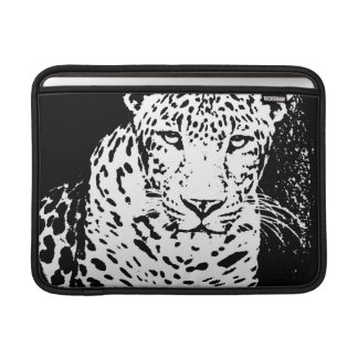 Leopard Black And White Portrait Macbook Sleeves