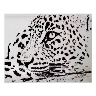 Leopard Black and White Poster