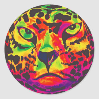 Leopard - Black Back, Rainbow Style Classic Round Sticker