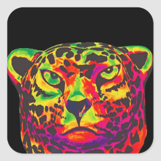Leopard - Black Back, Rainbow Style Square Sticker