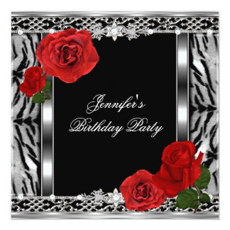 Leopard Black Birthday Red Rose Flowers Any Age Card