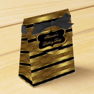 Leopard Black Gold Birthday Party Favor Gift Box 2 Favor Box