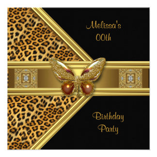 Leopard Black Gold Butterfly Image Birthday Party Announcement