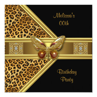 Leopard Black Gold Butterfly Image Birthday Party 5.25x5.25 Square Paper Invitation Card