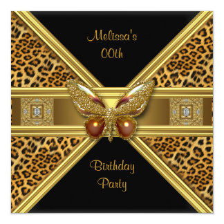 Leopard Black Gold Butterfly Image Party Card