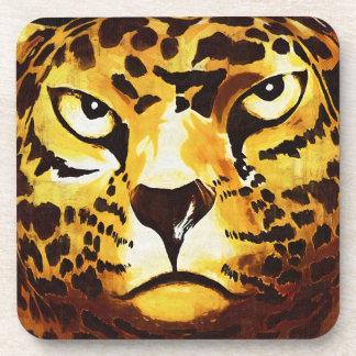 Leopard - Black, Gothic Style (l4goth) Coaster