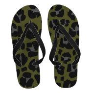 Leopard Black green khaki Animal Print Flip-Flops