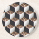 Leopard Black White Shaded 3D Look Cubes Beverage Coaster